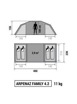 Кемпінговий намет Quechua Arpenaz Family 4.2